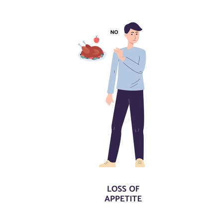 Man cartoon character refuses to eat, cartoon flat vector illustration isolated on white background. Loss of appetite in result of food poisoning or disease symptom. Vecteurs