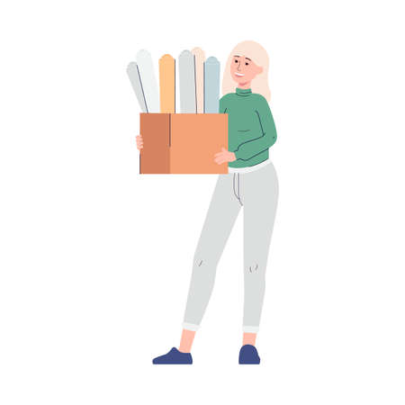 Female office worker, printing house employee or manager supplier holds box with designer paper samples. Industrial print production or advertising agency. Vector illustration. Vector Illustration