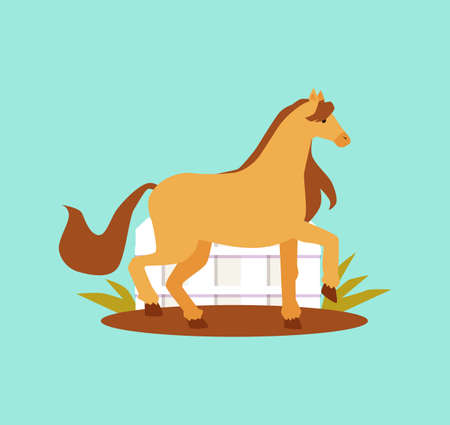 Agricultural or horse breeding farm with thoroughbred animals. Horse pony is grazing in the paddock on green grass. Flat cartoon vector isolated illustration.