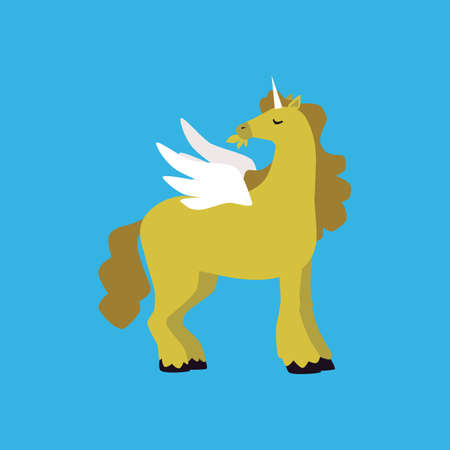 A fairytale unicorn character. Magic pony with a horn and white wings. Horse pegasus chewing the green grass. Flat cartoon vector illustration on a blue background.