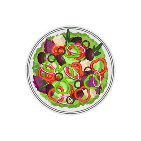 Bowl of greek salad with olives and cubes of salt cheese, flat cartoon vector illustration isolated on white background. Salad mix of lettuce and feta cheese.