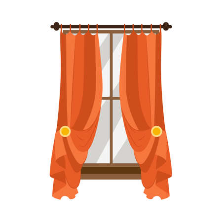 Fabric classic drape window curtains, flat vector illustration isolated on white background. Textile home decor and interior element for window framing. Ilustração