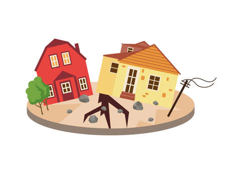 Devastating effects of an earthquake natural disaster, flat vector illustration isolated on white background. Destroyed houses as result of earthquake.