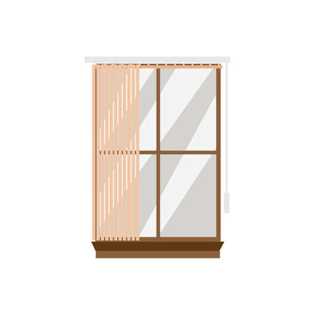 Window frame with vertical stripes of blinds, flat vector illustration isolated on white background. Vertical blinds or shutters for window made of bamboo or plastic.