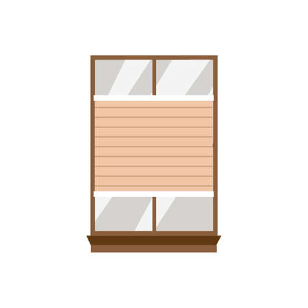 House window frame with honeycomb shades blinds, flat vector illustration isolated on white background. Kind of window shuts for sun protection and providing privacy. 向量圖像