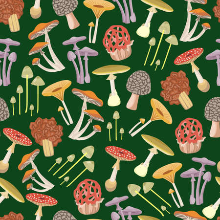 Seamless pattern with different types of forest mushrooms, flat cartoon vector illustration on green background. Decorative repeatable texture with mushrooms.
