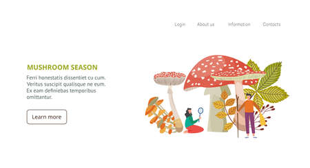 Mushroom season website banner template with people identificate edible and poisonous mushrooms, flat vector illustration. Forest fungus harvesting and gathering.