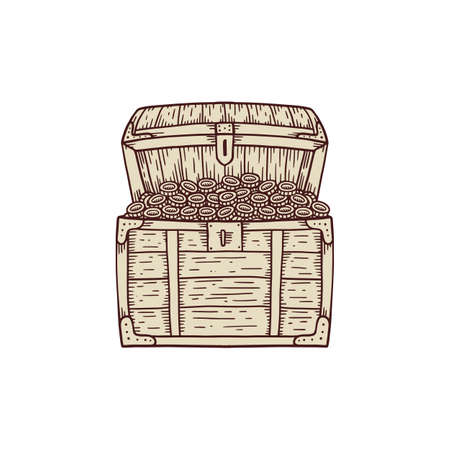 Ancient vintage wooden treasure chest with gold coins icon in hand drawn engraved style of vector illustration isolated on white background. Pirates jewel chest symbol.