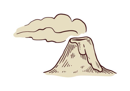 Cartoon hand drawn volcano eruption with hot lava and smoke, engraving vector illustration isolated on white background. Vintage style sepia monochrome image of volcano.