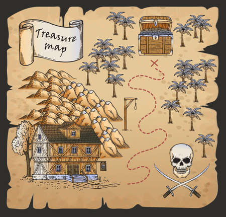 Treasure map of pirates island with burned edges in hand drawn cartoon style, vector illustration. Grunge vintage treasure map with skull and chest of gold.