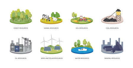 Natural resources set - forest and animals, water and minerals, wind and solar energy, coal and oil power. Vector isolated illustrations for eco design.
