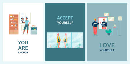 Set of posters or banners on body positivity and self-acceptance theme with motivational positive sayings and cartoon people characters, flat vector illustration.