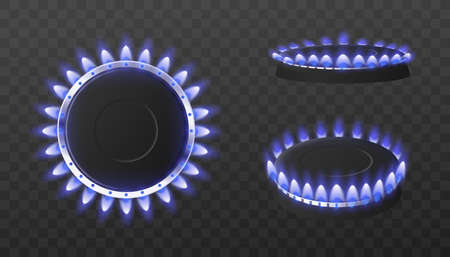 Gas kitchen stove with blue burning flames on dark. Top and side views of hot glowing burners, fire power and energy of natural gas. Vector realistic 3d isolated illustrations.