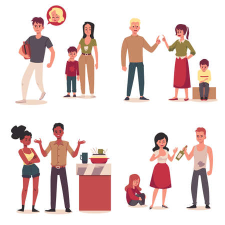 Set of characters of family conflict and problem situation, flat vector illustrations on white background. Couple man and woman in a quarrel and divorce. Vecteurs