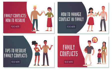 Vector landing pages template with tips how to resolve and manage of family conflicts. Rupture of relations couple of man and woman, unhappy married, quarrel and divorce.