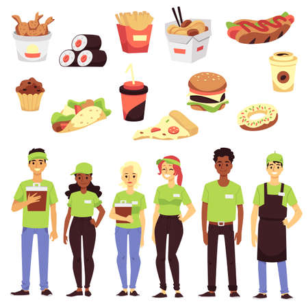 Set of icon on theme fast food restaurants. Traditional takeaway food and team of workers in green uniform, service staff for taking the orders. Flat vector isolated illustrations.