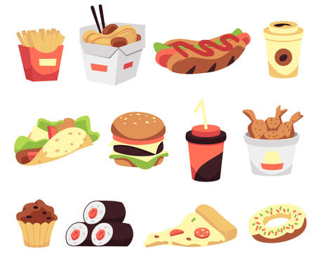 A set of fast food icons pizza and chicken, fries and cheeseburger, dessert and beverages, rolls and hotdog. Traditional takeaway food in chain fastfood cafes. Vector illustrations