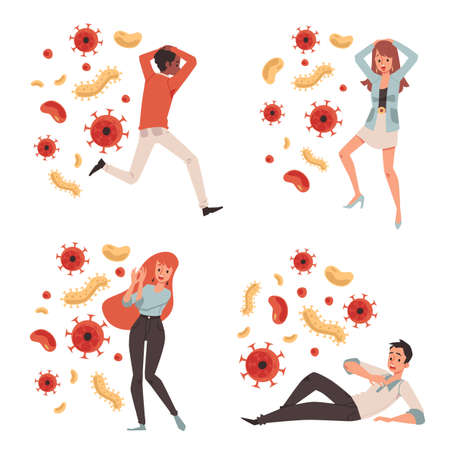 Young guys and girls characters set afraid of viruses, flat vector illustration isolated on white background. Panic fear and phobia of viral and bacterial hazard.