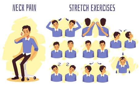 Stretch exercises to relieve and prevent neck pain, flat vector illustration isolated on white background. Infographic or banner with stretching for neck muscles.