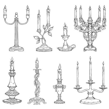 Candles in vintage old candlesticks. Antique candle holders and retro candelabrums with candlelight in line art style. Set of vector sketch illustrations on a white background.