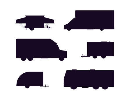 Set of black silhouettes of traveling RV cars or Recreational vehicles for campers, flat vector illustration isolated on white background. Camping trailers and van