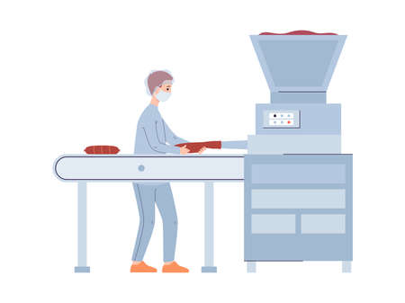 Production of natural meat food. Man working of industry factory with machine processing of raw meat to ready made sausages. Vector flat isolated illustration Vecteurs