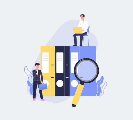 Tiny business people characters against huge paper folders, flat vector illustration. Business document workflow and regulatory compliance thematic of banner. Vetores