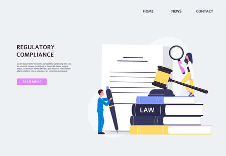 Regulatory compliance website banner with tiny people characters working on documents law legalization and business workflow, flat vector illustration on blue background.