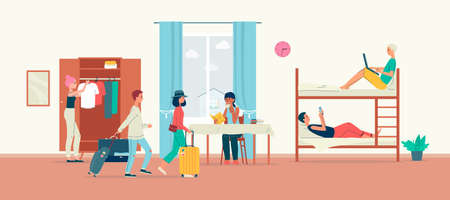 Hostel room interior with cartoon people and bunk beds. Traveler tourists in cheap modern hotel dorm, flat vector illustration of crowded living space Ilustração Vetorial