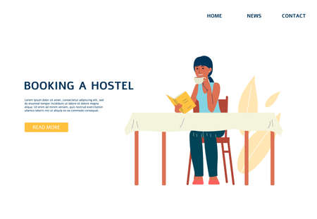 Website interface for hostels booking services with cartoon character of traveling student, flat vector illustration. Hostel and dormitory housing for youth.