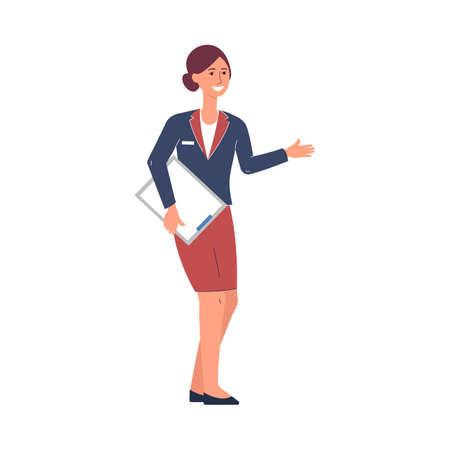 Restaurant manager or hostess female character, flat vector illustration isolated on white background. Full length portrait of restaurant manager with a clipboard.
