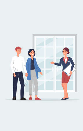 Restaurant hostess greeting client couple at the door - cartoon reception woman with menu welcoming customers at entrance, vector illustration.