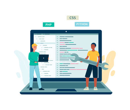 UI code testers or programmers characters against huge laptop. Website ui or application software testing services, flat vector illustration isolated on white background.