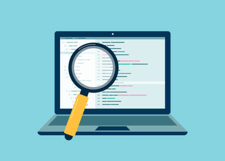 Technology of application development, debugging and code testing of software for search bugs and errors. Concept of programming, analysis and coding data. Vector illustration.