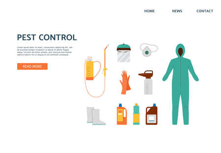 Pest control service. Prevention and protection from insect, parasite, rodent. Protective clothes and professional equipment for chemical disinfection. Vector landing page template