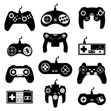 Set of retro and modern gamepads, consoles, joysticks and playing devices for video games. Black icons of computer gadgets and digital controllers. Vector isolated illustrations
