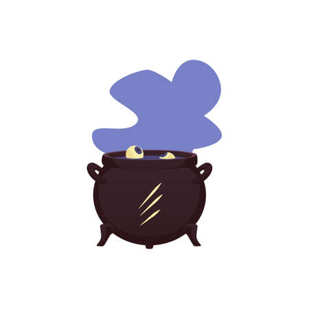 Isolated vector icon of cauldron for witch with human eyes in boiling magic brew