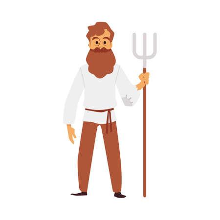Male farmer holding pitchfork - cartoon man in medieval clothes Vecteurs