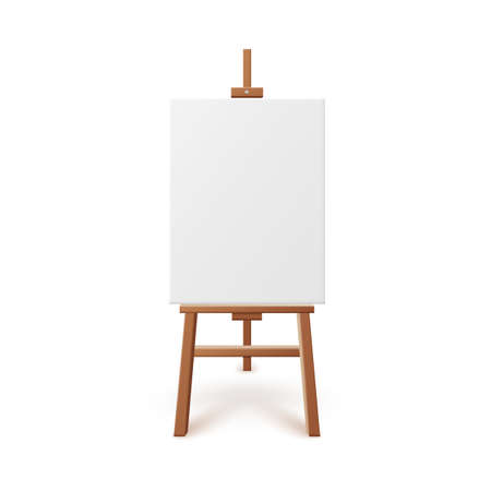 Artist easel with blank white canvas realistic vector illustration isolated.