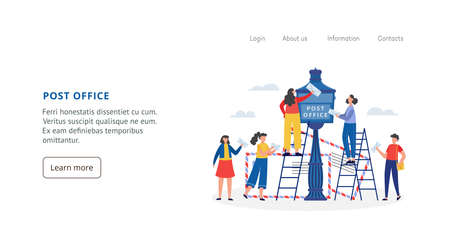 Post office website layout with people sending mail, flat vector illustration.