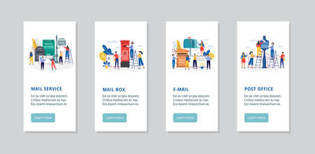 Mail service banners for mobile app with people, flat vector illustration.