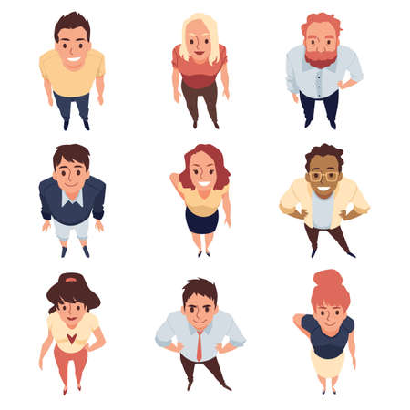 Top view on smiling standing people look up a flat cartoon vector illustrations.
