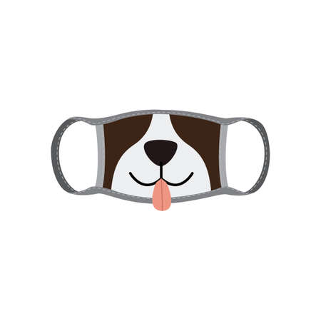Reusable fabric mask face with dog mouth a flat cartoon vector illustration.
