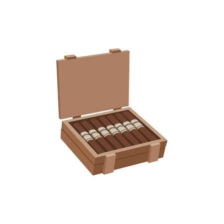 Cuban smoking cigars laying in wood box, flat vector illustration isolated.