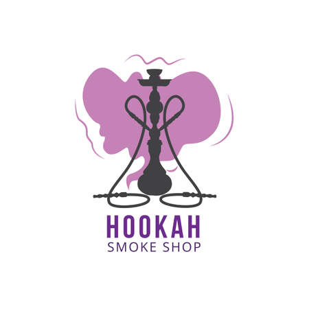 Logo for oriental hookah shop, arabian device with pipe for smoking aroma tobacco