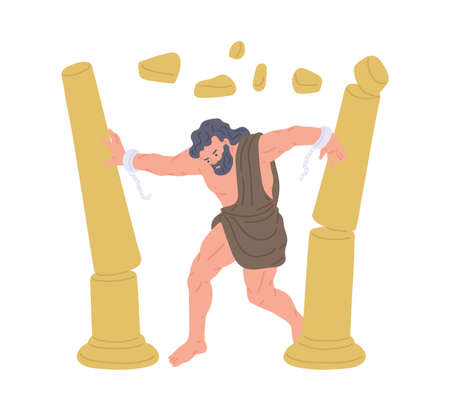 Bible religion character Samson, strong hero, pushing down the pillars