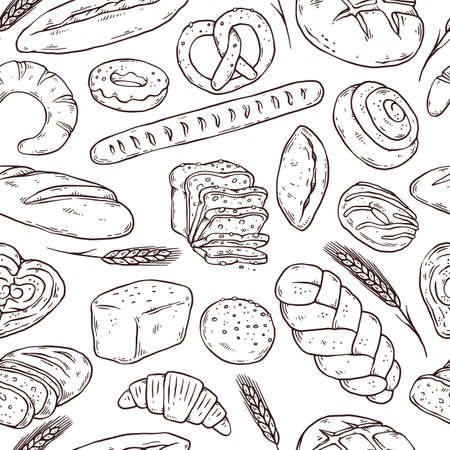 Seamless pattern with hand drawn bread, doodle vector illustration isolated. Ilustração Vetorial