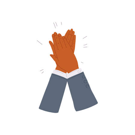 Cartoon icon of clapping applauding hands, flat vector illustration isolated.