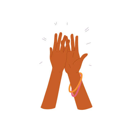 Applauding clapping hands of black woman, flat vector illustration isolated.