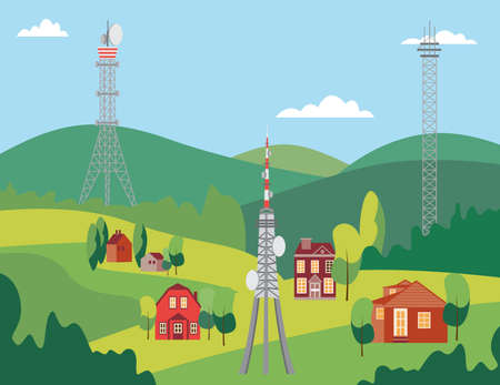 Landscape with telecommunication mobile phone towers, flat vector illustration.